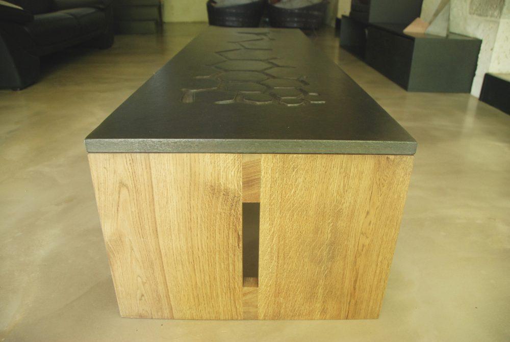 Table Basse Béton Et Bois - Mobilier Artisanal Contemporain - Brut