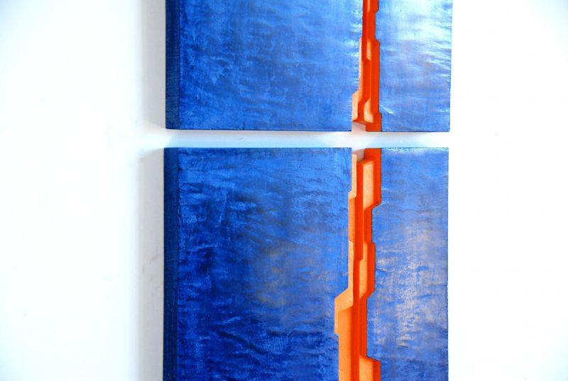tryptique mural déco bleu bois et chaux ©BRUTDESIGN2016